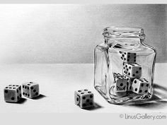 Linus Galleries Artist Dan Pyle | Charcoal Drawing of Still Life with Dice