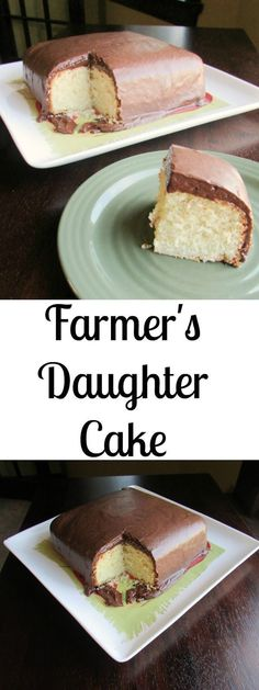 This Farmer's Daughter Cake is a delicious vanilla cake with a delectable chocolate frosting! #Vanillacake