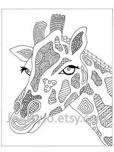 Coloring Page Elephant Zentangle Inspired Printable Zendoodle Page 44 Giraffe Coloring Pages, Cool Coloring Pages, Adult Coloring Pages, Coloring Books, Coloring Sheets, Amazing Drawings, Colorful Drawings, Colorful Pictures, Zentangle Patterns