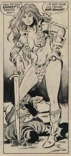 Panel from Savage Sword of Conan#1(1974),Red Sonja by John Buscema and Pablo Marcos. This panel introduces the steel bikini designed for Red Sonya by artist Esteban Maroto.