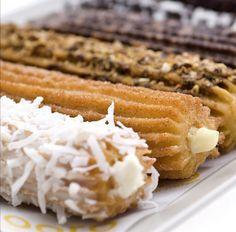 Fancy Churro's from xooro. I love churros Mexican Food Recipes, Snack Recipes, Cooking Recipes, Beignets, Fritters, Blueberries, Love Food, Cravings, Food And Drink