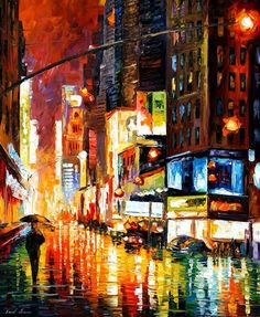 The recreation is 100% hand painted by Leonid Afremov using oil paint, canvas and palette knife. Description from etsy.com. I searched for this on bing.com/images