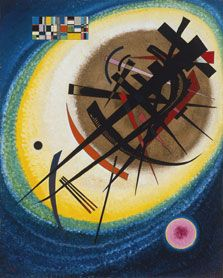 """""""In the Bright Oval"""" (1925), by Wassily Kandinsky. Oil on cardboard. Museo Thyssen-Bornemisza, Madrid"""