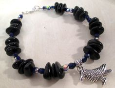 Quoth the Raven Bracelet - Black Tourmaline & Czech Glass Crystal - pagan - wicca - witchcraft - Odin - northern tradition by FiberWytch on Etsy