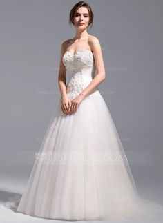 [US$ 333.99] A-Line/Princess Sweetheart Chapel Train Tulle Wedding Dress With Appliques Lace