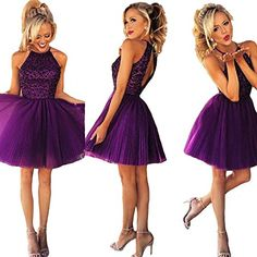 FASHION DRESS Short Purple Halter Knee Length Tulle Homecoming Gowns Prom Dresses 4 *** You can get more details by clicking on the image.