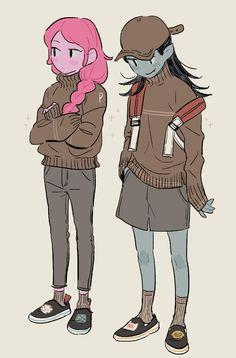 Image shared by Whisper. Adventure Time Marceline, Adventure Time Anime, Adventure Time Princesses, Fanart, Cartoon Art, Cartoon Characters, Princesse Chewing-gum, Adveture Time, Marceline And Princess Bubblegum