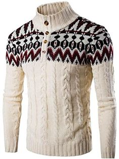 jeansian Men's Retro Jacquard Stitching Sweater Knitted P…