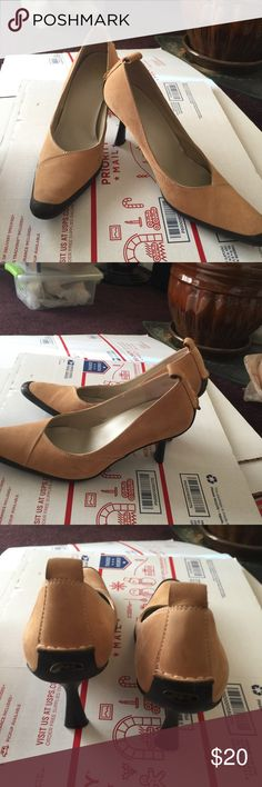 Anne Klein heels Anne Klein suede heels. Worn a couple times. Ak emblem on one shoe on back pulling off Anne Klein Shoes Heels