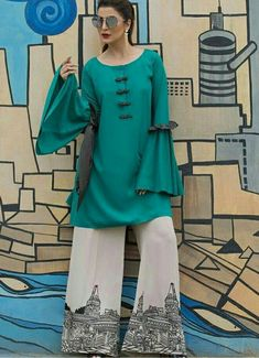 14 August (Independence Day) Dresses Designs for Pakistani Girls Pakistani Dresses Casual, Pakistani Dress Design, Casual Summer Dresses, Simple Dresses, Pakistani Couture, Pakistan Fashion, Classy Dress, Indian Fashion, Designer Dresses