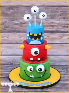 Monster themed cake www.facebook.com/i.love.cuteology.cakes
