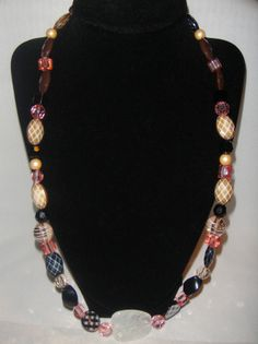 Brown, Pink, & Black Acrylic Beads Long Necklace