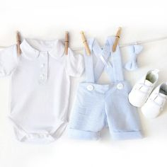 **Orders take approximately 5-7 business days to make. If specific dates are needed please message me or include date in the Notes section at checkout** **Note - this outfit has been recently changed to include an all white onesie instead of white and blue**  Included in this set are a