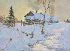 Alexander Kremer, Russian, Dusk, oil on canvas, 18 x 24 Winter Painting, Winter Art, Views Album, Landscape Paintings, Landscapes, Dusk, Oil On Canvas, My Arts, Art Prints