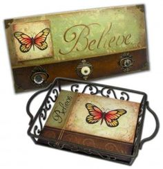 Butterfly Believe Tole and Decorative Painting by Patricia Rawlinson Decoupage, Butterfly Bathroom, Scrap, Bazaar Ideas, Country Paintings, Covered Boxes, Painting On Wood, Creative Art, Diy Home Decor