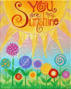 Kids Decor 11x14 CUSTOM PAINTING You Are My Sunshine by nJoyArt