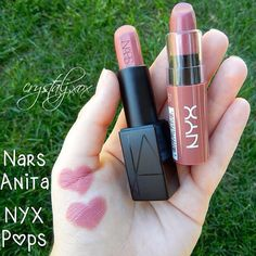 NYX 'Pops' as an affordable dupe for Nars 'Anita' (which looks amazing but is compared to NYX that is normally max) Nyx Cosmetics, Dupes Nyx, Mac Eyeshadow Dupes, Drugstore Makeup Dupes, Beauty Dupes, Makeup Swatches, Beauty Makeup, Beauty Products, Makeup Products