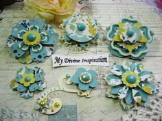 MME Now & Then Aqua Yellow Ivory Handmade Paper Embellishments, Paper Flowers for Scrapbook Layouts Cards Tags Mini Albums and Paper Crafts