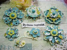 MME maintenant & alors Aqua jaune papier fait main Ivoire embellissements, fleurs en papier pour cartes Tags Mini Albums de découpures Layouts et artisanat en papier