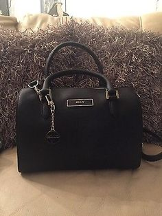New dkny #black #saffiano #leather bowling bag,  View more on the LINK: http://www.zeppy.io/product/gb/2/231957044388/