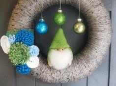 Chubby Gnome Christmas Wreath Yarn Wreath