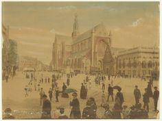 Grote Markt. Midden op de markt is het in 1882 door A.L. Dyserinck geschonken weerhuisje te zien. Foto 1886. Fotograaf: Anoniem