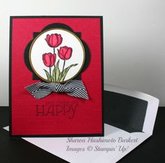 handmade Valentine/friend  card ... dramatic deep red with black mats, ink, ribbon and envelope lining ... luv the way the focal point circle fits into the window framelit ... great card from Sharon Burkert ... Stampin' Up!