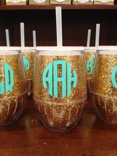 Monogram glitter wine tumbler. All tumblers are gold but can choose different font styles and colors