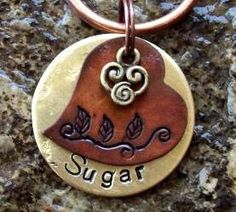 Ordered this for Saffy.. So cute!  ((Dog Tags Dog Tag Pet ID Tags Tag Honey Suckle by FetchAPassionTags, $12.50))