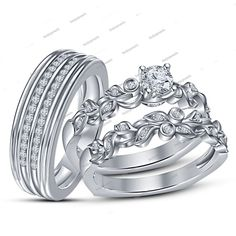 925 Silver Round Simulated Diamond Wedding Bride & Groom 3 pieces Trio Ring Set