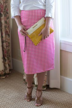 Modest hot pink gingham pencil skirt. Modest apparel and bridesmaid dresses, ruffles and lace. www.daintyjewells.com