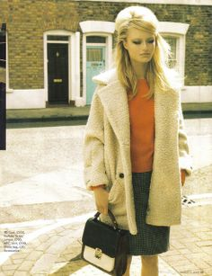 feminine coat and cropped orange knit...for fall