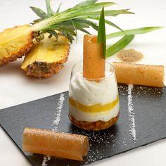 Blanc manger d'ananas confit, émulsion noix de coco