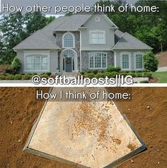 that white dirty thing on the ground is what i call home There's no place like home Softball Catcher Quotes, Funny Softball Quotes, Softball Rules, Softball Problems, Softball Pictures, Softball Players, Fastpitch Softball, Volleyball, Alabama Softball