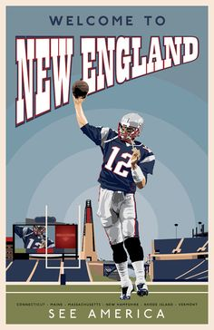 """US Travel Poster Pastiche   New England   Football  17 x 11"""" Digital Print by DadManCat, $12.99"""