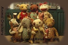 Primitive EPATTERN Bunny Dog Cat Monkey by SweetMeadowsFarm,oh these are adorable!!