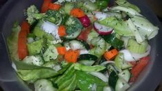 Mixed green salad with cabbage, spinach, celery,  carrots,  broccoli,  radishes,  tomatoes,  parsley, onions,  cucumbers in an orange vinaigrette