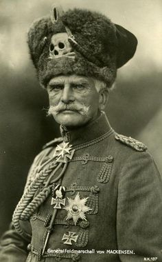 "Anton Ludwig August von Mackensen (1849-1945) was a German Field Marshal during World War I and became one of the German Empire's most prominent military leaders. Generalfeldmarschall von Mackensen is seen wearing the Totenkopf ""Death's Head"" on his head gear, which was a German military emblem since the 18th century (ca. 1918)."