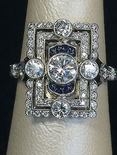 18K White Gold Vintage Ring from 1940's French Estate Diamonds and Sapphires