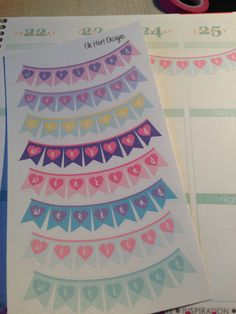 Heart Flag Weekend Banner stickers. Perfect for Erin Condren Life Planner by ElleHartDesigns