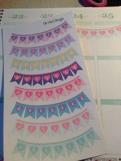 Heart Flag Weekend Banner stickers. Perfect for Erin Condren Life Planner by ElleHartDesigns