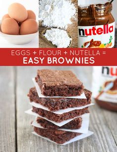 eggs + flour + Nutella = easy brownies Genius Three-Ingredient Recipes Yep, it really can be this easy. Easy Desserts, Delicious Desserts, Dessert Recipes, Snacks Recipes, Holiday Desserts, Cheesecake Recipes, Recipies, 3 Ingredient Nutella Brownies, Yummy Snacks