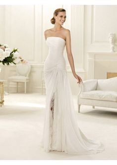 Buy Chiffon Sweetheart Strapless Neckline Mermaid Style with Lace Side Slit Skirt 2013 Wedding Dresses-HuLu