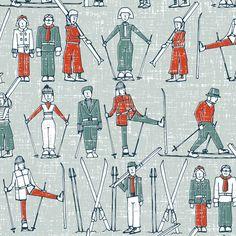 vintage ski linen fabric by scrummy on Spoonflower - custom fabric-jax