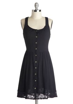 Welcome the Weekend Dress - Black, Solid, Buttons, Lace, Casual, A-line, Tank top (2 thick straps), Scoop, Sheer, Mid-length, Good, Woven