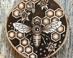 Sweet Honey is an intricately hand burned original art piece inspired by a deep reverence for the natural world and an a Wood Burning Tips, Wood Burning Crafts, Wood Burning Patterns, Wood Crafts, Diy Wood, Wood Burn Designs, Wood Design, Sacred Geometry, Geometry Art