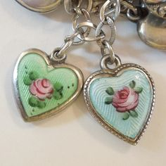 Sterling Silver Puffy Heart Charm - Blue Guilloche Enamel with Pink Rose - Engraved 'Mom'