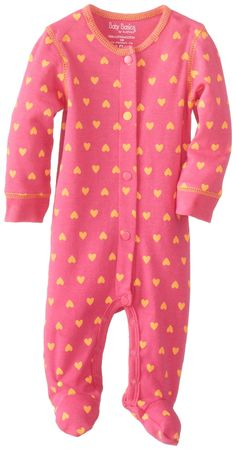 181b2ab73 Amazon.com: Kushies Baby-Girls Newborn Sleeper, Fushia Heart, 1 Month:  Clothing