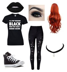 """""""Outfit 1"""" by xxfoxskullxx on Polyvore featuring Converse, WithChic and Lime Crime"""