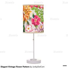 Elegant Vintage Flower Pattern Table Lamps - March 11 #zazzle #junkydotcom - 2x
